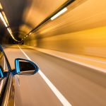 tunnel inside with car driving motion blur